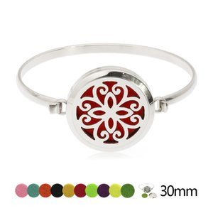 Lucky Flower Twist Bracelet Bracelet En Acier Inoxydable 30mm Diffuseur Médaillon Médaillon Médaillon Bracelets De Fabrication De Bijoux Pour Femmes 10pcs Pads