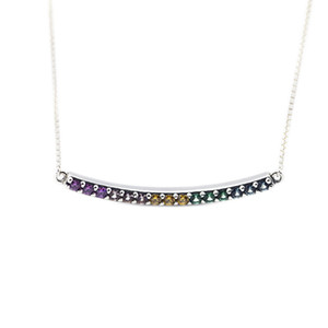 Compatible with Pandora jewelry 925 Sterling Silver Multi-Colored Curved Bar Necklace For Women Original Fashion Pendants Charms Jewelry