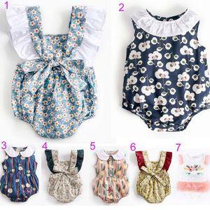 INS sıcak stilleri bebek çocuk Giyim uçan kolsuz romper Çiçek baskı Romper Yuvarlak Yaka Zarif Yaz romper Yeni yaz
