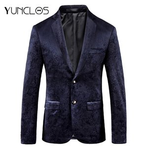 YUNCLOS 2018 New Arrival Costume Velvet Rose Printed Men Blazer Slim Fit Party Suit Jackets High Quality Blazer Jackets for Men