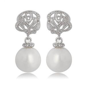 2018 Fashion White Zirkon Tropfen Ohrringe Heißer Verkauf 925 Sterling Silber Schmuck mit Natürlichen Süßwasserperlen Großhandel