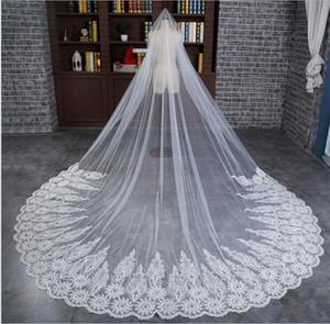 Изготовленные на заказ кружева свадебные свадебные вуали 3 метра длиной длиной собора гона
