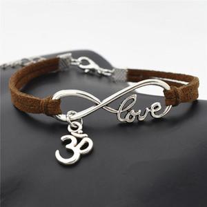 AFSHOR 2018 Personnalité Bijoux Hindou Tibétain Argent Infinity Amour Bouddhiste 3D Ohm Aum Yoga OM Symbole Charmes Bracelet En Cuir pour Femmes Hommes