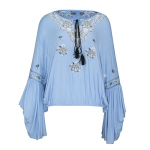Young17 Women Loose Floral Embroideried Flare Sleeve Women's Blouse Blue V-Neck Sweatshirts Women Autumn Hoodie