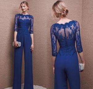 Royal Blue шифон мать невесты костюмы с 3/4 рукавами Плюс Размер Матери Комбинезон Кружево Коктейль Пром платья Вечерние Wear