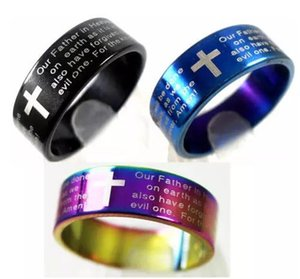 الإنجليزية اللوردات الصلاة الصليب الفولاذ المقاوم للصدأ خواتم رجالي مجوهرات الصليب الكتاب المقدس الدائري عشاق خواتم