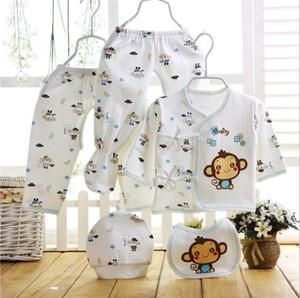 Yenidoğan Bebek beş parçalı set 0-6 ay pamuk bebek giysileri bahar ve yaz pamuk şapka iç çamaşırı önlüğü set