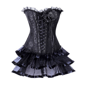 Black Floral Lace Up Korsett For Women Sexy Victorian Costume Burlesque Corset Skirt Dress Gothic Clothing Corsets And Bustiers