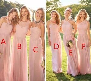 2020 barato rosa larga plisada gasa de encaje de vestidos de dama de estilo mixto Blush dama de honor formal del desgaste de la criada Volantes personalizada
