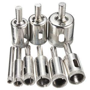 10 pcs Diamant Trou Scie Trépan Ensemble 6mm-30mm Tuile Céramique Verre En Porcelaine Marbre Trou Scie Cutter