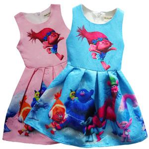 2017 2-9Y Traje Do Bebê Meninas Vestido de Verão Crianças Roupas de Impressão Festa de Aniversário Roupas Infantis Casuais Trolls Vestidos Vestidos