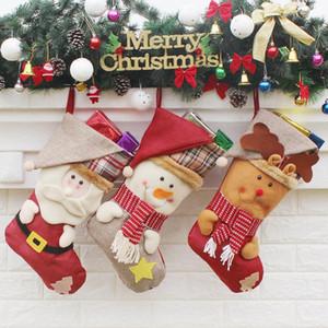 Bas de Noël fabriqués à la main artisanat enfants bonbons cadeau Santa sac Claus bonhomme de neige cerf bas chaussettes cadeau de jouet décoration arbre de Noël # 31 32 33