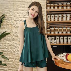 BRESNA Satin Frauen Pyjama Sets mit Shorts Solid grün Navy Pink ärmellose quadratische Kragen Faux Seide Home Damenbekleidung Sommer