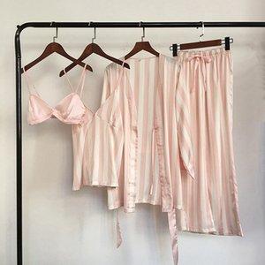 Hot Sexy Silk Satin Pyjamas Set 4 Piece Women Striped Sleepwear Pijamas Mujeres Ropa de dormir Ropa de dormir femenina