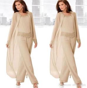 Şampanya Üç Parçalı Anne Gelin Pant Uzun Ceketler ile Suits Uzun Kollu Boncuklu Şifon Anne Artı Boyutu Düğün Konuk Elbise