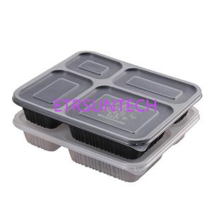 Черный прозрачный прямоугольный одноразовый пищевой контейнер обед коробка Bento Снэк упаковка коробки микроволны PP пластмассы QW8079