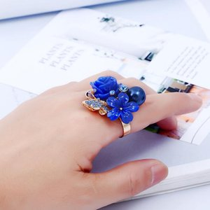 New Fashion Rose Flowers Women Finger Ring Micro Inlay Full Blue Zircon Wedding Accessories Adjustable Rings for Party Jewelry Accessories