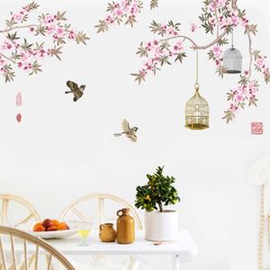 Oiseaux qui volent parmi les fleurs Arbre Branches Stickers Muraux Salon Chambre Fond Décor Murale Murale Affiche Art Birdcage Wall Decals