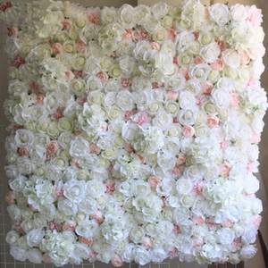 40X60cm Artificial Silk Flower Wall Panel White Flowers Hydrangea Wedding Decoration Wedding Party Backdrop Decor 12pcs lot