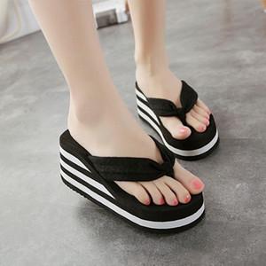 VOGELLIA сандалии на платформе женщины Высокий каблук Chanclas Chinelo обувь летняя мода полосатые тапочки шлепанцы черный Pantufa