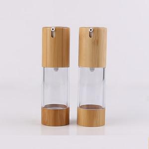 100 stücke 30 ml AS Bambus Kosmetische Airless Flasche DIY Transparente Vakuum Lotion / Emulsion Press Pumpe Verpackungsbehälter