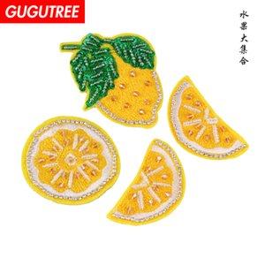 GUGUTREE Perlen Zitrone Patches, Kristalle Diamanten Insekten Pailletten Applikation Patch für Mantel, T-Shirt, Hut, Taschen, Pullover, Rucksack BDP-5
