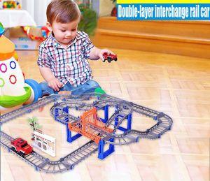 Çift katmanlı Kavşak Demiryolu Araba Thomas Montajlı Elektrikli Hız Yarış Variety Parça Araba Modeli Eğitim Çocuk Çocuk Yetişkin DIY Oyuncaklar