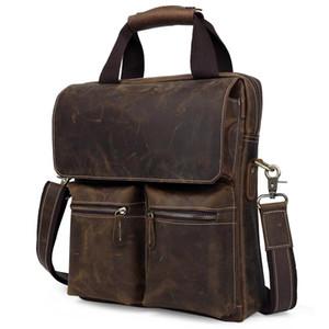 TIDING ретро стиль мужчины вертикальная кожаная сумка 13 дюймов ноутбук коричневая сумка 1072