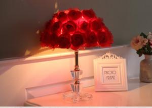Foyer Lesen sitzend Wohnzimmer Prinzessin Schreibtisch Hochzeit LED Tischlampe stieg Blume Ehe Tischleuchte Kristall Tischlampe