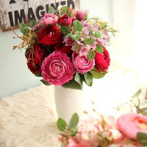 New Design (9 Heads / Bunch) New .Silk / Simulação / Artificial Flor Peony Flower Bouquet Para Casamento Casa Decoração