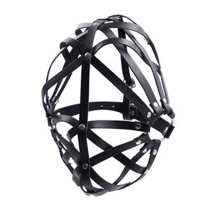 Head Harness Style Party Mask Stripe Connected Sex Hoods BDSM Bondage Fetish Sexual Fantasies Faux Leather Black GN312401046