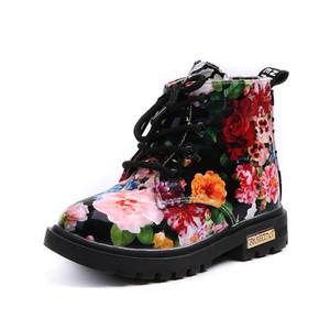 여자 부츠 2017 새로운 패션 우아한 꽃 꽃 인쇄 어린이 신발 아기 마틴 부츠 캐주얼 가죽 어린이 부츠