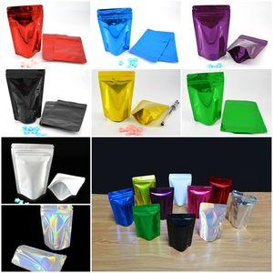 Stand UP Pouch Ziplock Packing Bag Glossy Heat Seal Foglio di alluminio Mylar Ziplock Borse Zip Lock Bag Per Food Jewel Imballaggio DHL libero