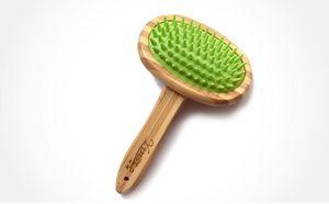Cepillo de champú para baño para mascotas, masaje suave Cepillo de bambú con cabeza de silicona duradera para cabello largo y corto Mascotas Perros Gatos
