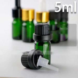 2018 nuevos frascos cuentagotas 5ml vacío de vidrio para aceites esenciales, Verde 5 ml E-líquidos botellas de vidrio cuentagotas al por mayor para eLiquid Ecigarette