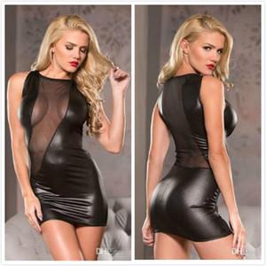 Sexy Mini abito senza maniche da donna Vestito trasparente con pannelli in mesh Abito tubino in ecopelle Vestidos Abbigliamento da night club Wetlook