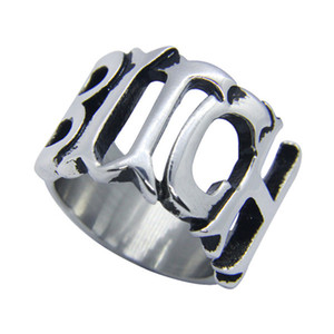 5pcs lot Size 5-10 Newest Hollow Out BITCH Unisex Ring 316L Stainless Steel Fashion Jewelry Popular Biker Hiphop Style Ring