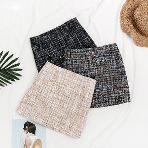 Autumn Winter New Women Sequins Mixed Tweed High Waist Skirt Wild Temperament Woolen Pencil Skirts