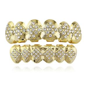 Rhinestone cobre dentadura postiza Grillz Hip Hop cosplay dientes frenillos decoración 2018 punk plateado dental Grillz joyería conjunto unisex al por mayor