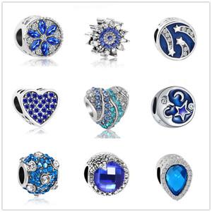 Plus récent livraison gratuite MOQ20pcs européenne argent bleu foncé lune et étoile waterdrop bricolage lâche bijoux perle Fit Pandora Bracelet à breloques D019