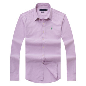 Chemise à manches longues pour homme POLO Automne Printemps Automne chemise habillée casual chemise de cheval pour hommes POLO mode chemise sociale affaires à manches longues D15