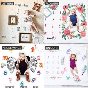 La croissance du nouveau-né bébé mensuel Milestone Couverture Lettre Fleur Licorne Prop Photographie Contexte 2020 Nouveau Arriva Hight Qualité