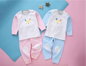 Conjunto de pantalones de cintura alta para niños de primavera y otoño Ropa interior de bebé de enfermería de algodón para bebés Qiuyi Qiuku Hombres y mujeres Cuello redondo