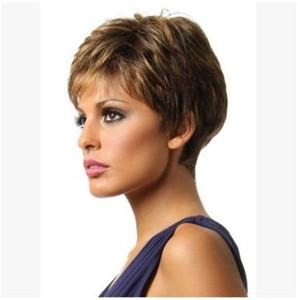 2018 européenne et américaine perruque cheveux courts personnalité féminine moelleux, changement progressif couleur cheveux boucles, tempérament net rose, faux ensemble de tête s