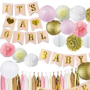 Ragazza Baby Shower Rifornimenti del partito Ornamento Banner Lanterne di fiori di carta Nastro colorato Sipario di seta Decorazione di compleanno di nozze 39 5wt bb
