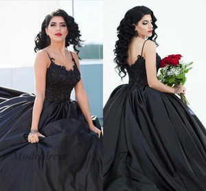 Gothic Black Wedding Dresses Spaghetti Straps Lace Appliques Satin Elegant Ball Gown Bridal Gowns for Gothic Wedding Unique Design