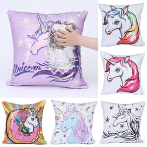 Unicorn baskı Yastıklar Durum Mermaid sequins Yastık Örtüsü Kanepe Şekerleme Yastık Ev Dekor 14 stilleri C4126 Kapakları