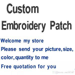 Trasporto libero Più economico Patch personalizzate Disegni Ricamo Patch Qualsiasi dimensione Qualsiasi qualità Logo Ricamato Patch Fornitore Wholesa