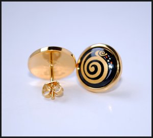 Klimt Series 18K gold-plated enamel earrings for women Top quality stud earrings