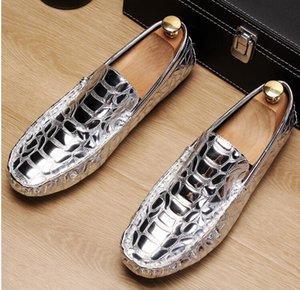 Lüks Altın Erkekler Loafer Gümüş Moccasin Ayakkabı Adam Siyah Boş Eğilimleri Timsah Modeli On Fashion Forward Slip, Ayakkabı